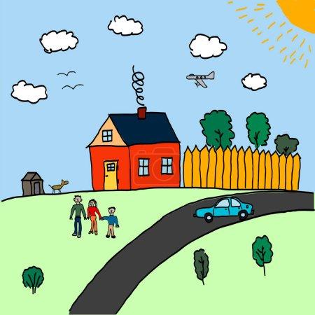 Illustration pour Dessins pour enfants sur le thème de la famille et de la maison. Ça représente un homme, une femme, un enfant. Maison dans le parc près de la route et une voiture. Nuages blancs et l'avion dans le ciel - image libre de droit