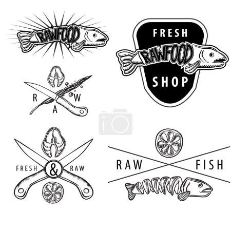 Illustration pour Ensemble d'insignes rétro vintage noir et blanc avec saumon, citron, couteaux à poisson - image libre de droit