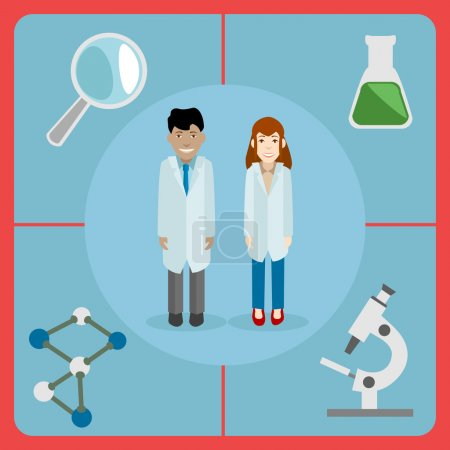 Flat style icon of a pair of scientists, male and female