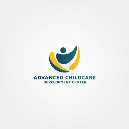 Illustration pour Développement de la garde d'enfants modèle de conception de logo idée - image libre de droit