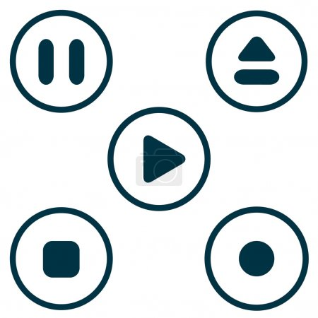 Play stop button icon set