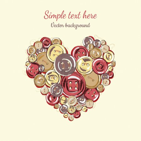 Illustration heart of the buttons