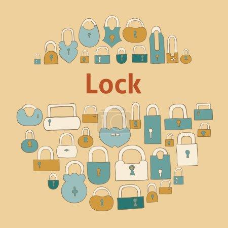 Closed locks on beige background