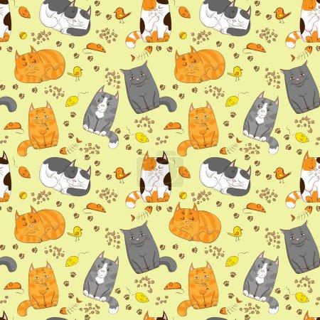 Cute cats seamless pattern
