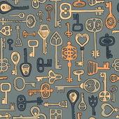 Hand drawn vintage keys seamless pattern
