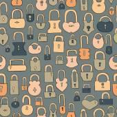 Hand drawn vintage keys seamless pattern