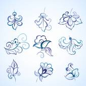 Set of watercolor floral design elements