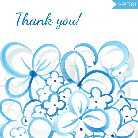 Illustration for Thank you card with hand drawn watercolor flowers - Royalty Free Image