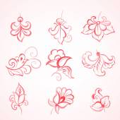 Set of watercolor floral design elements Vector illustration