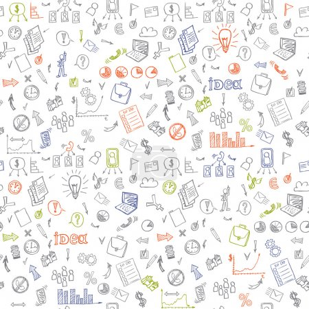 Business doodles seamless pattern.