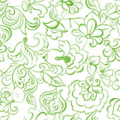 Watercolor seamless pattern with green flowers and leaves against white background