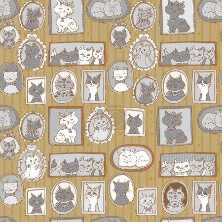 Cute cat portraits seamless pattern