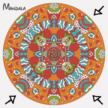 Symmetrical circular pattern of colored mandala, vector round Oriental pattern for design.