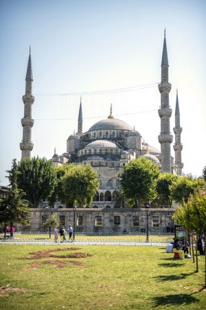 Visitors around the Blue Mosque in Istanbul, Turkey