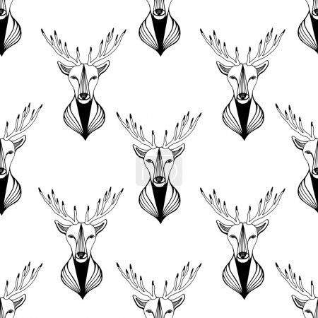 Seamless pattern with deer in black and white colors hipster illustration.