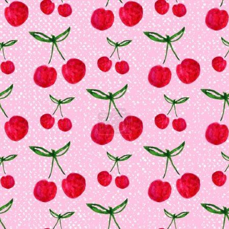 Foto de Seamless pattern with watercolor cherries. Endless repeating print pink background texture. Fabric design. Wallpaper - Imagen libre de derechos