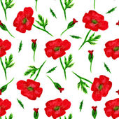 Elegant seamless pattern with watercolor painted red poppy flowers, design elements. Floral pattern for wedding invitations, greeting cards, scrapbooking, print, gift wrap, manufacturing