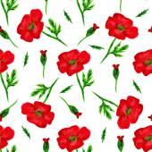 Modello senza cuciture elegante con lacquerello dipinto fiori rossi del papavero, elementi di design. Motivi floreali per inviti di nozze, biglietti di auguri, scrapbooking, stampa, carta da regalo, produzione
