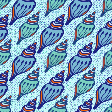 Shells blue seamless pattern.