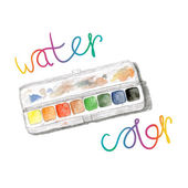 Watercolors and paintbox