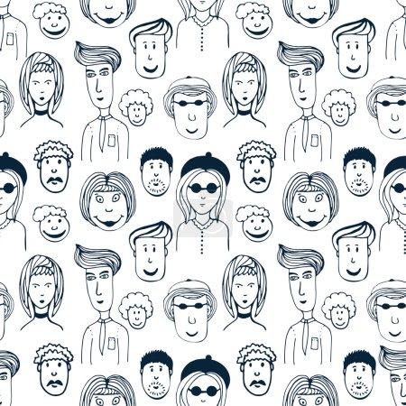 Illustration pour Modèle sans couture vectoriel dessiné à la main avec illustration du groupe d'hommes et de femmes. Foule de travailleurs drôles de fond peuples - image libre de droit