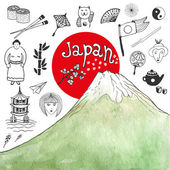 Doodle hand drawn collection of Japan icons with watercolor mountain Japan culture elements for design Vector illustration