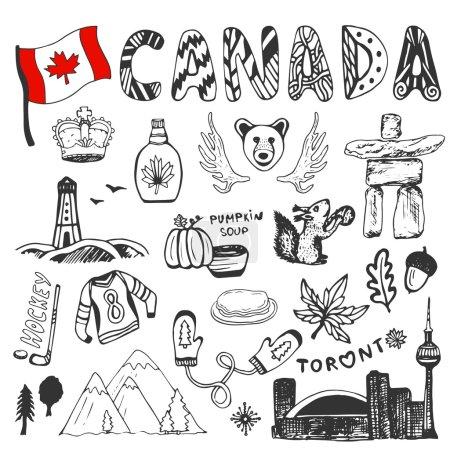 Illustration pour Croquis collection de symboles du Canada dessinés à la main. La culture canadienne définit les éléments du design. Illustration de voyage vectorielle avec lettrage doodle - image libre de droit
