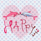 Love dolphins concept Love Happy Day Greeting card postcard vector illustration