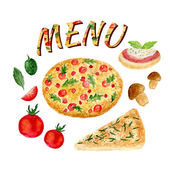 Watercolor collection of pizza set isolated