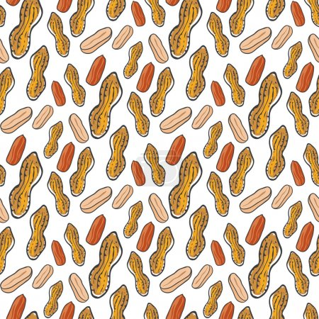 Cute seamless pattern with peanuts .