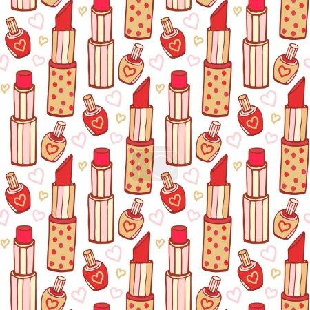 Lipsticks and nail polish cosmetics pattern.