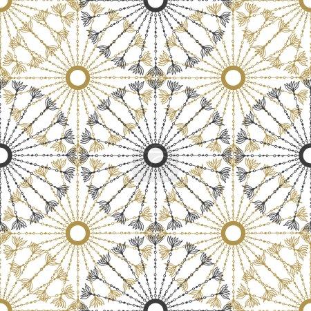 Seamless geometric vintage pattern. Vector black a...