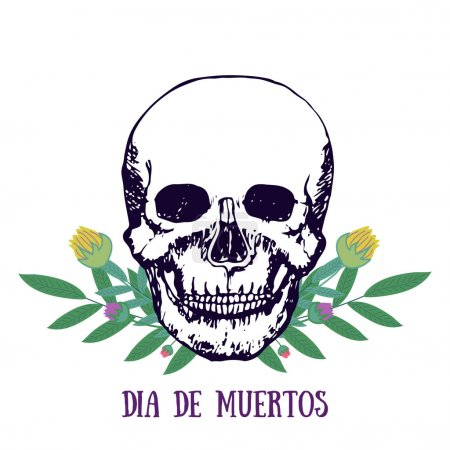 Illustration for Mexican print - Dia de muertos. Day of the dead poster. Skull with flowers. Vector print - Royalty Free Image