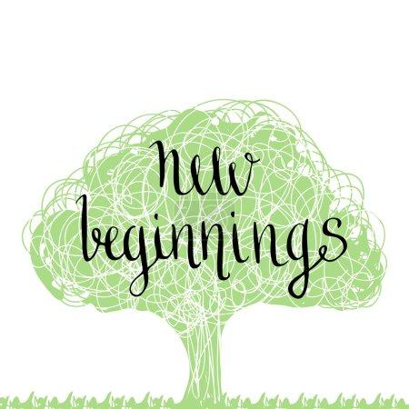 Handwritten phrase - new beginning.