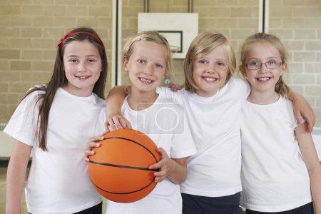 Female School Sports Team In Gym With Basketball