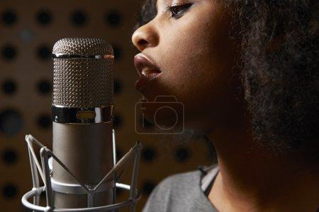 Female Vocalist In Recording Studio...