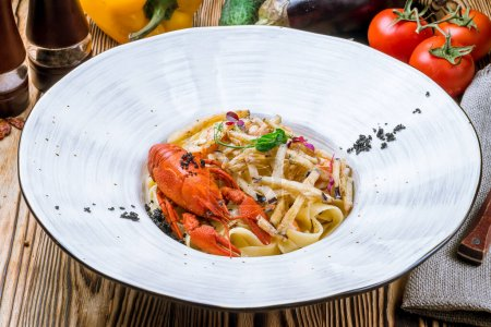 Photo for Pasta with crayfish, close up - Royalty Free Image