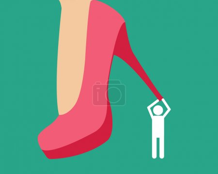 Henpecked. Man under a female heel. Vector illustration