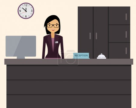 Illustration for Happy female receptionist standing at hotel. Vector illustration - Royalty Free Image