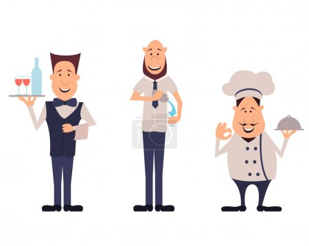 Professions employees cafe. Set bartender, chef and waiter. Vector illustration
