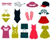 Set of summer clothes and accessories Vector illustration