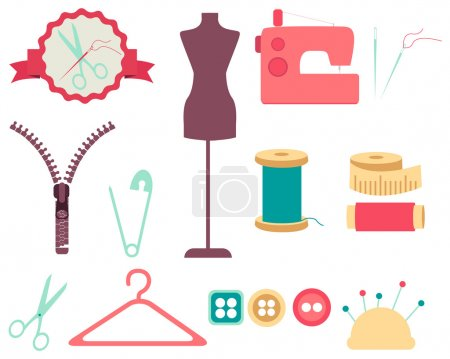 Set of sewing tools and accesories. Collection of design elements. Vector illustration