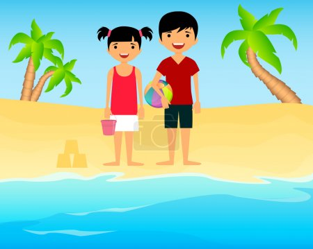 Children playing on a sandy beach. Vector illustration