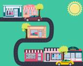 Fashionable city Street with shops and cars Vector illustration
