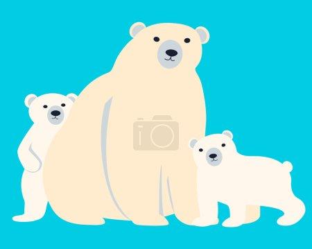 Illustration pour Famille des ours polaires. Mère et petits sur fond bleu. Illustration vectorielle - image libre de droit