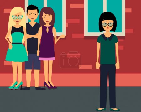 Bullying lonely girl. Upset teenage girl with friends gossipers. Vector illustration