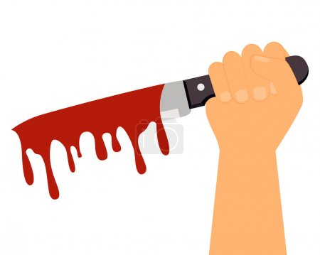 Social problems. Man holding a bloody knife. Vector illustration