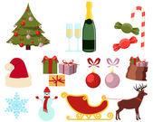 Sada plochých vánoční ikony izolovaných na bílém pozadí. Vektorové ilustrace