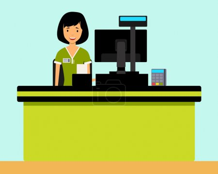 Happy girl cashier in the workplace. Vector illustration flat