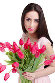 woman with  tulip bouquet